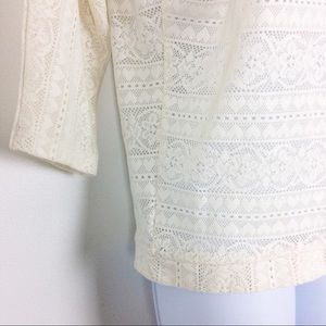 Poof! Tops - Poof | Lace Hearts Off White 3/4 Sleeve Top Blouse